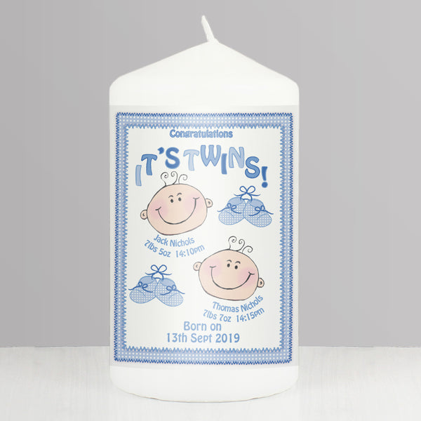 Personalised Its Twins Candle Blue