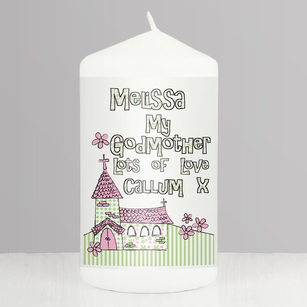 Personalised Whimsical Church Godmother Candle