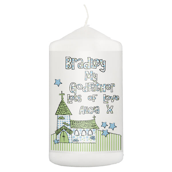 Personalised Whimsical Church Godfather Candle white background
