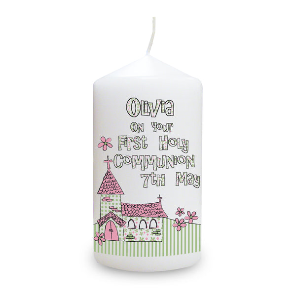 Personalised Whimsical Church Pink 1st Holy Communion Candle white background