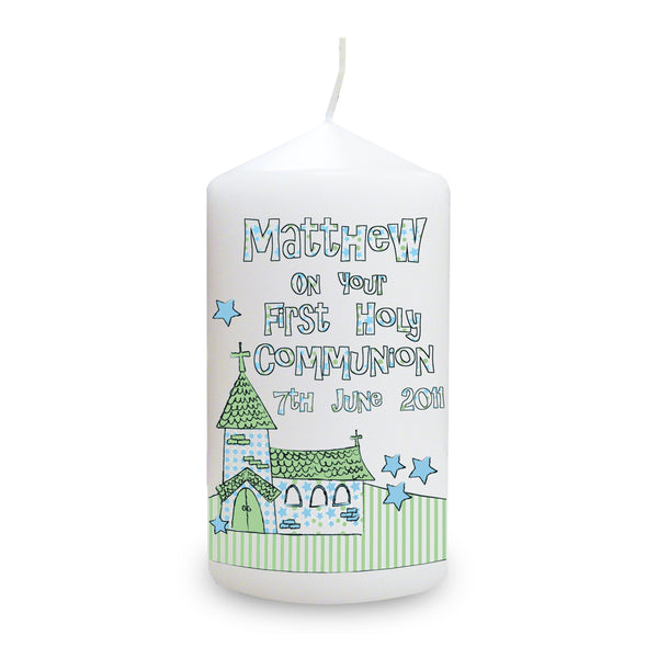 Personalised Whimsical Church Blue 1st Holy Communion Candle white background