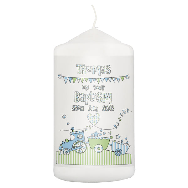 Personalised Whimsical Train Candle white background
