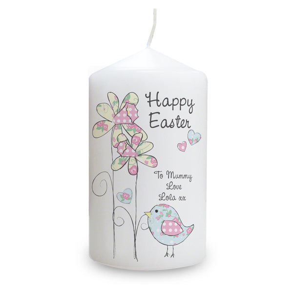Personalised Daffodil Chick Easter Candle white background
