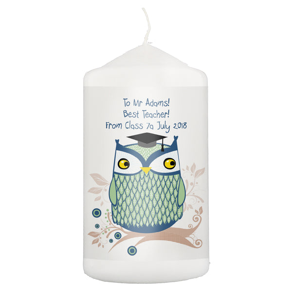 Personalised Mr Owl Teacher Candle white background