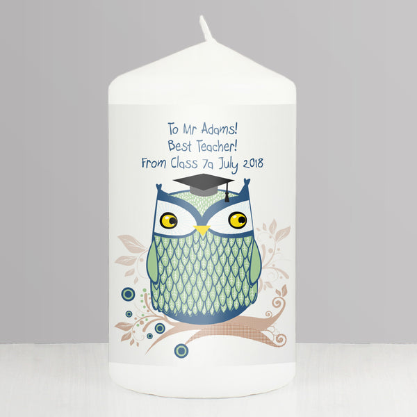 Personalised Mr Owl Teacher Candle