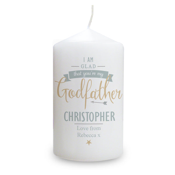 Personalised I Am Glad... Godfather Candle white background