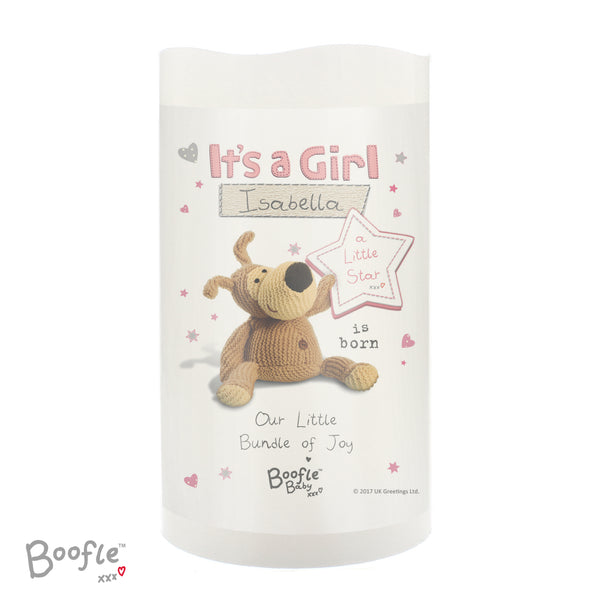 Personalised Boofle It's a Girl Nightlight LED Candle white background