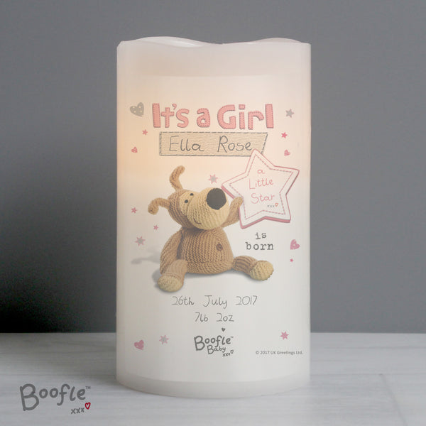 Personalised Boofle It's a Girl Nightlight LED Candle from Sassy Bloom Gifts - alternative view