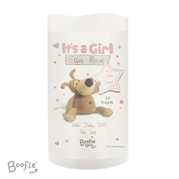 Personalised Boofle It's a Girl Nightlight LED Candle lifestyle image