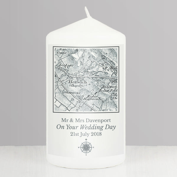 Personalised 1805 - 1874 Old Series Map Compass Pillar Candle from Sassy Bloom Gifts - alternative view