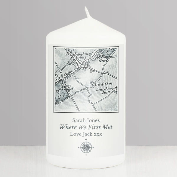 Personalised 1805 - 1874 Old Series Map Compass Pillar Candle lifestyle image