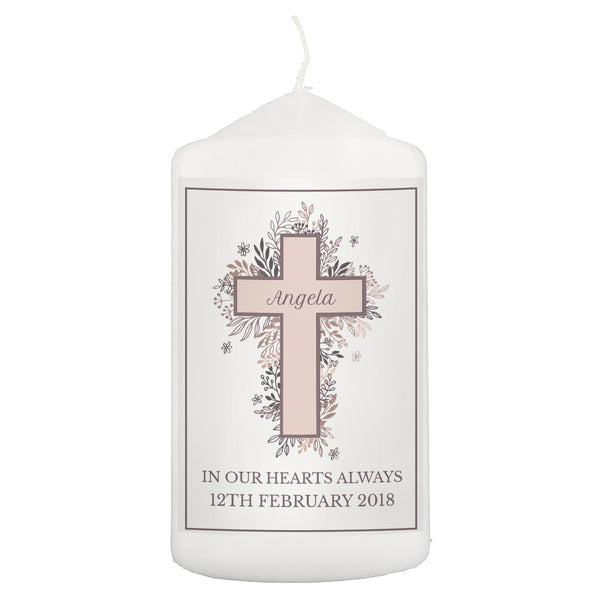 Personalised Floral Cross Pillar Candle white background