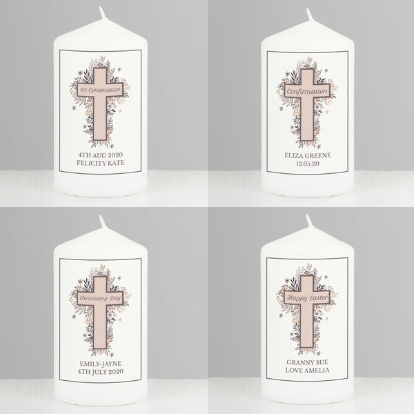 Personalised Floral Cross Pillar Candle from Sassy Bloom Gifts - alternative view