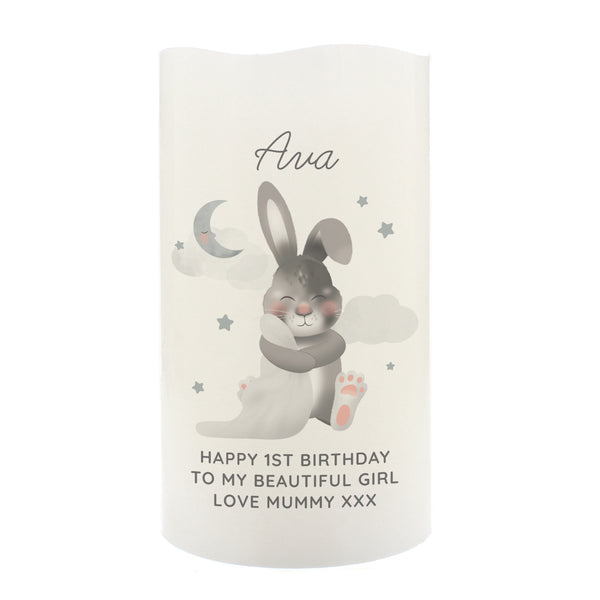 Personalised Baby Bunny LED Candle white background