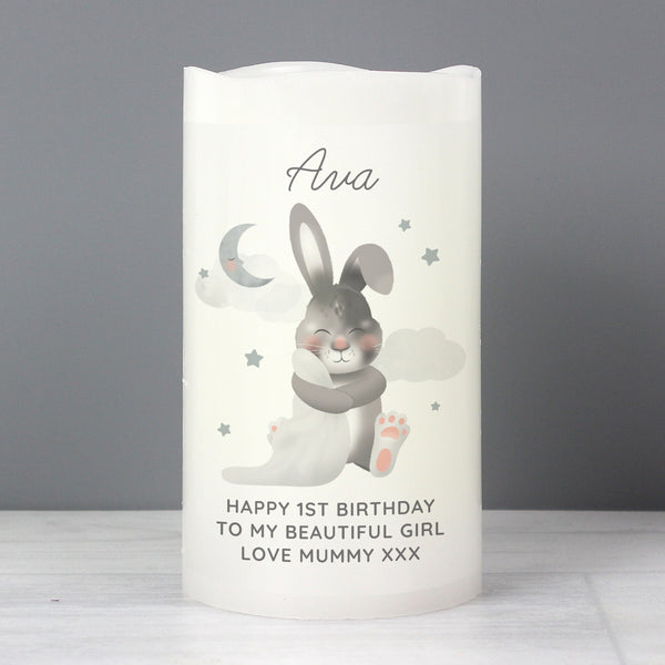 Personalised Baby Bunny LED Candle lifestyle image