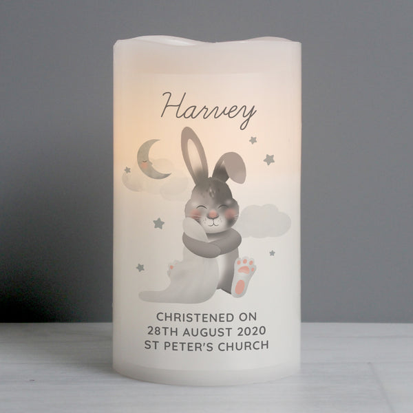 Personalised Baby Bunny LED Candle with personalised name