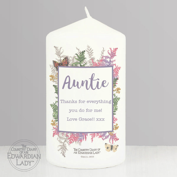 Personalised Country Diary Botanical Pillar Candle with personalised name