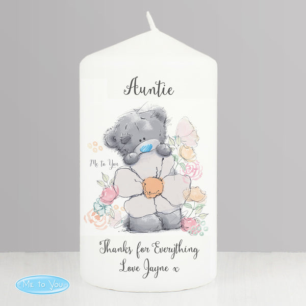 Personalised Me to You Floral Pillar Candle lifestyle image