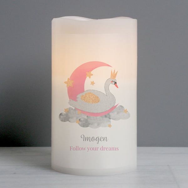 Personalised Swan Lake LED Candle from Sassy Bloom Gifts - alternative view
