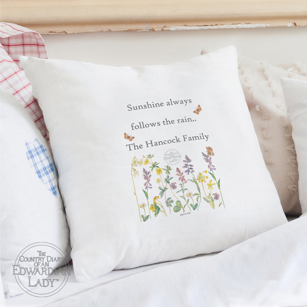 Personalised Country Diary Wild Flowers Cushion Cover white background