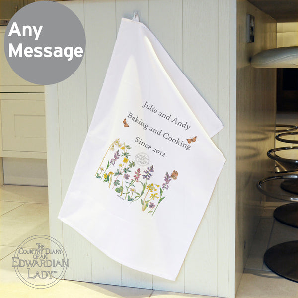 Personalised Country Diary Wild Flowers White Tea Towel from Sassy Bloom Gifts - alternative view