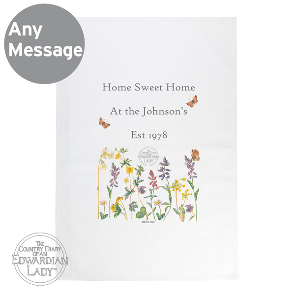 Personalised Country Diary Wild Flowers White Tea Towel lifestyle image