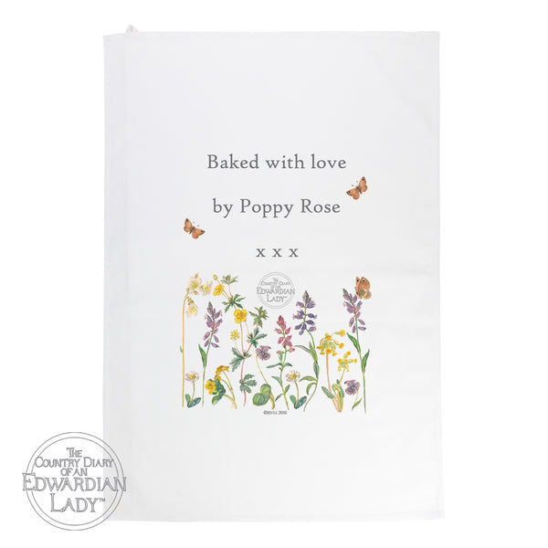 Personalised Country Diary Wild Flowers White Tea Towel with personalised name