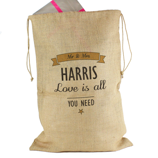 Personalised Classic Parcel Hessian Sack white background