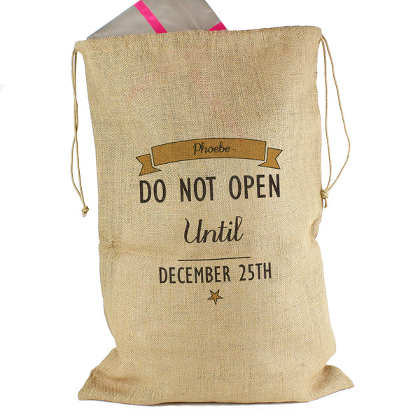 Personalised Classic Parcel Hessian Sack with personalised name