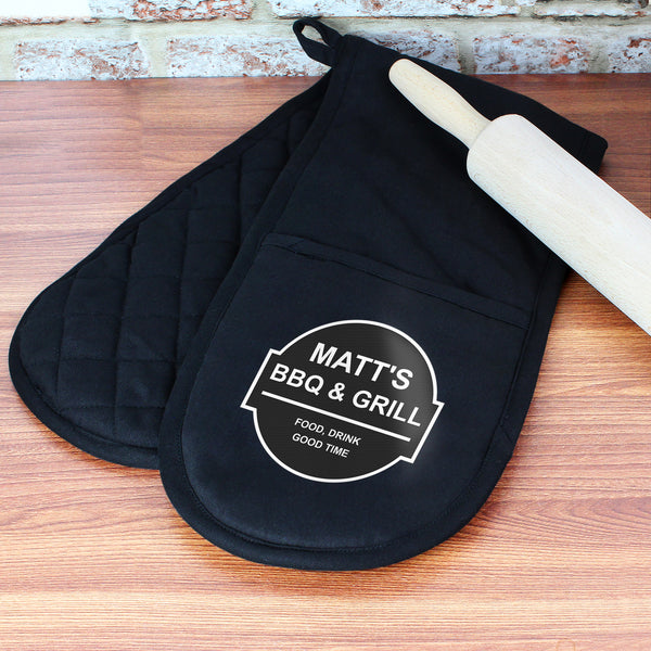 Personalised BBQ & Grill Oven Gloves with personalised name