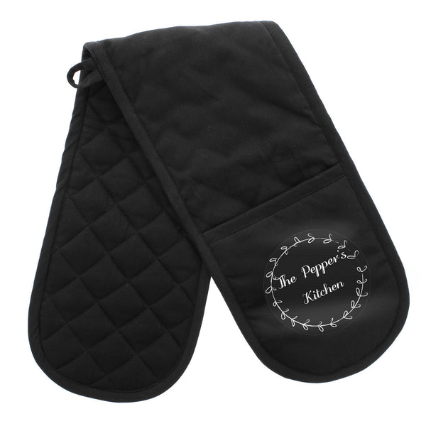 Personalised Wreath Oven Gloves white background