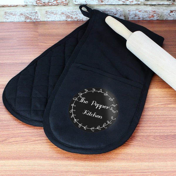 Personalised Wreath Oven Gloves with personalised name