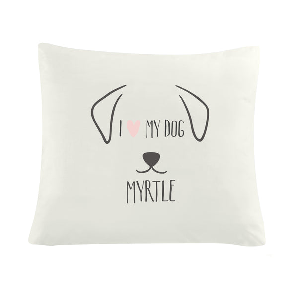 Personalised Dog Features Cushion Cover white background