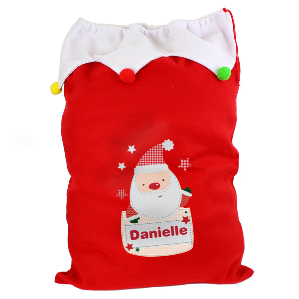 Personalised Pocket Santa Multicoloured Pom Pom Sack white background