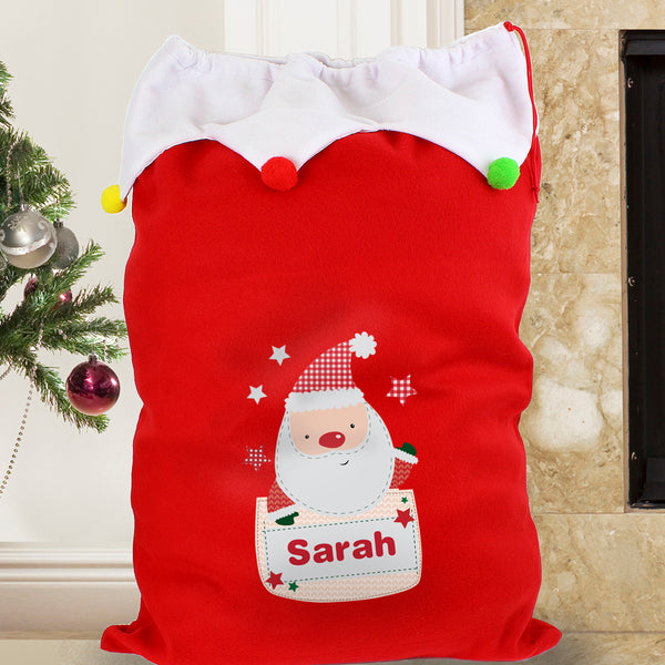 Personalised Pocket Santa Multicoloured Pom Pom Sack lifestyle image
