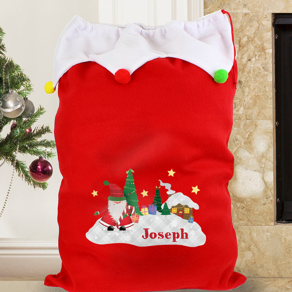 Personalised Tartan Santa Multicoloured Pom Pom Sack