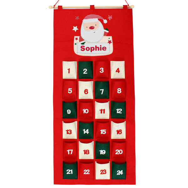 Personalised Pocket Santa Felt Advent Calendar white background