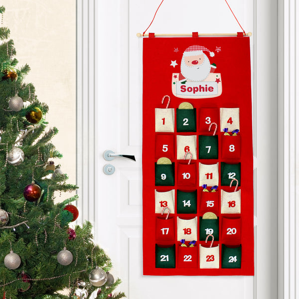 Personalised Pocket Santa Felt Advent Calendar lifestyle image