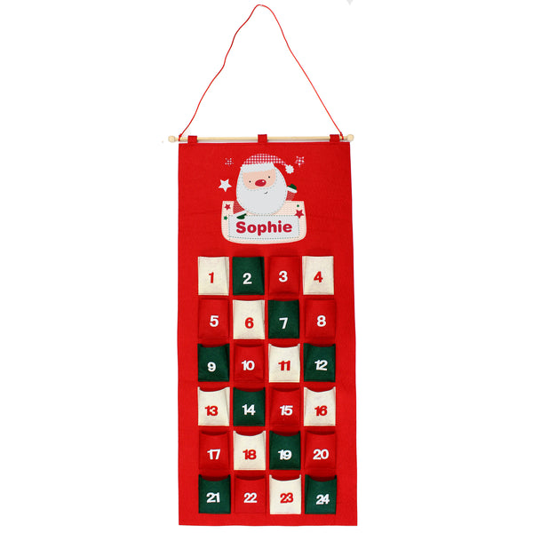 Personalised Pocket Santa Felt Advent Calendar with personalised name