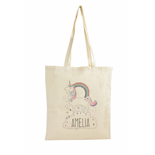 Personalised Unicorn Cotton Bag white background
