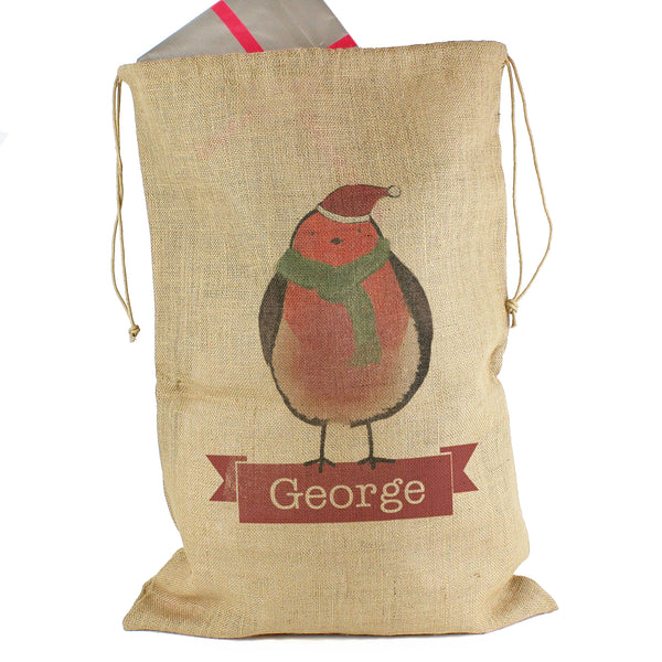 Personalised Robin Hessian Sack white background