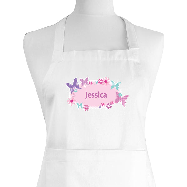 Personalised Butterfly Children's Apron white background