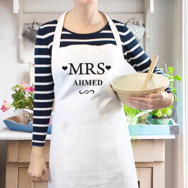 Personalised Mrs White Apron from Sassy Bloom Gifts - alternative view