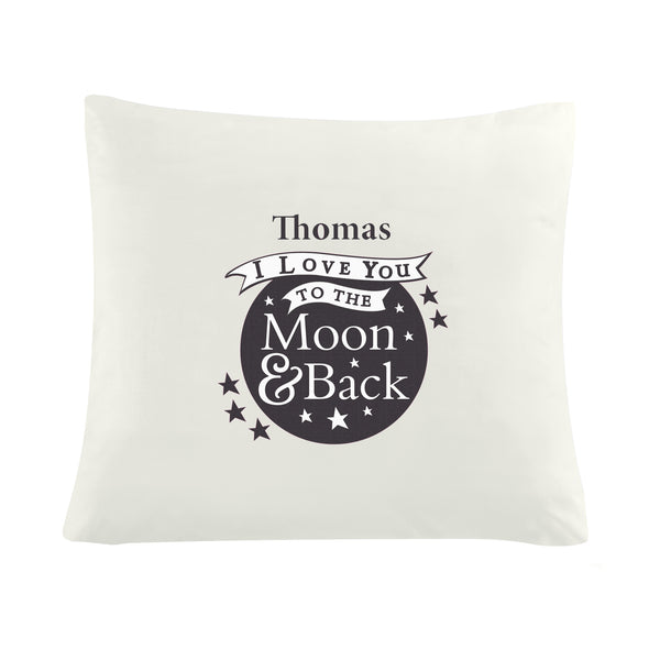 Personalised To the Moon and Back...Cream Cushion Cover white background