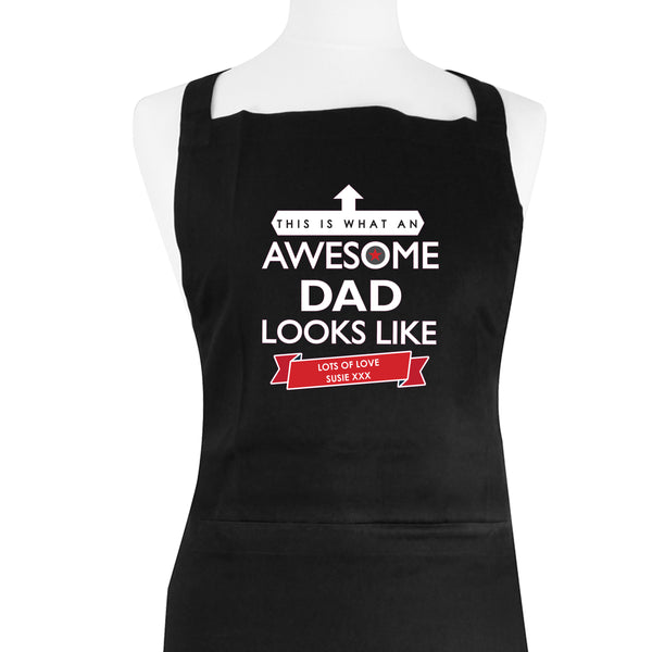 Personalised 'This is What an Awesome... Looks Like' Black Apron white background