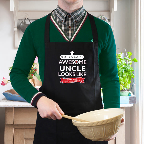Personalised 'This is What an Awesome... Looks Like' Black Apron lifestyle image