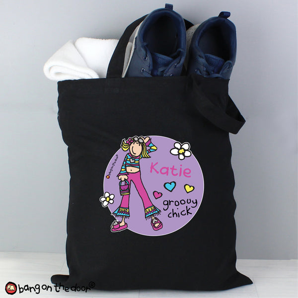 Personalised Bang on the Door Groovy Chick Black Cotton Bag from Sassy Bloom Gifts - alternative view