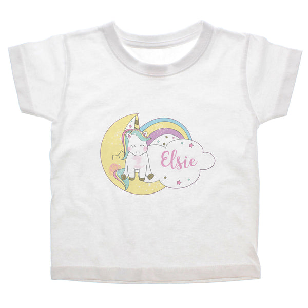 Personalised Baby Unicorn T shirt 1-2 Years white background