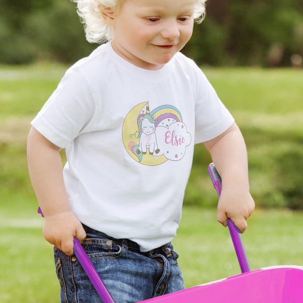 Personalised Baby Unicorn T shirt 1-2 Years from Sassy Bloom Gifts - alternative view