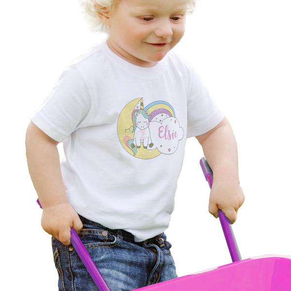 Personalised Baby Unicorn T shirt 1-2 Years lifestyle image